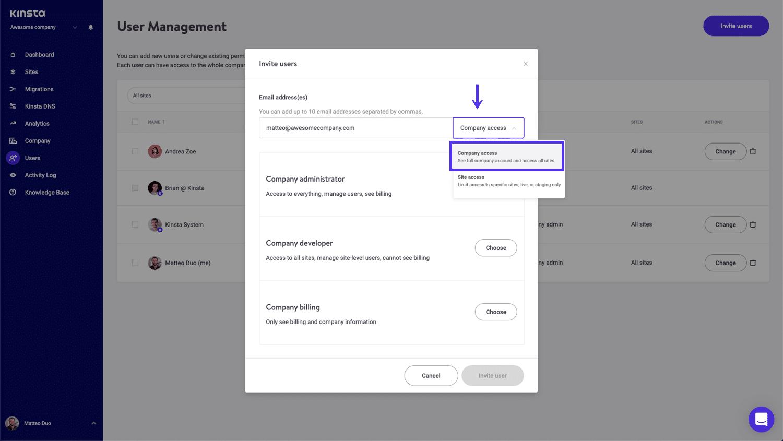 Accorder l'accès à l'entreprise à de nouveaux utilisateurs