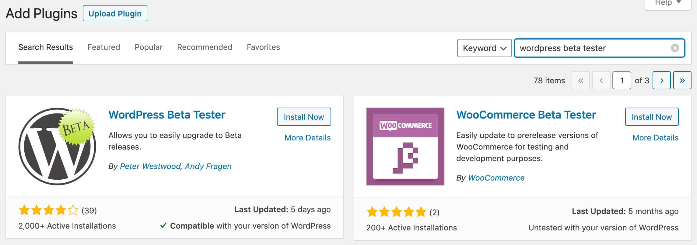 Installer l'extension WordPress Beta Tester