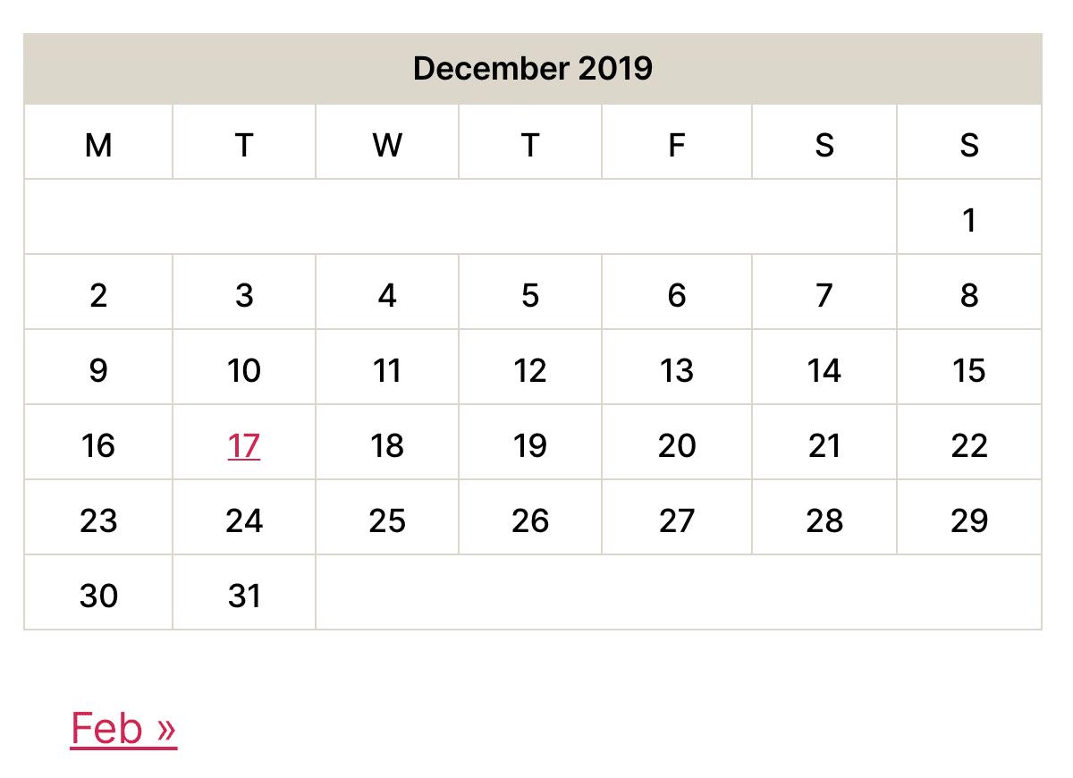Nouveau widget calendrier