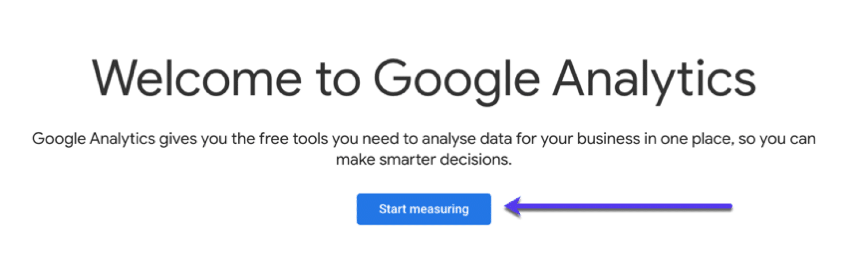 Page de configuration de Google Analytics