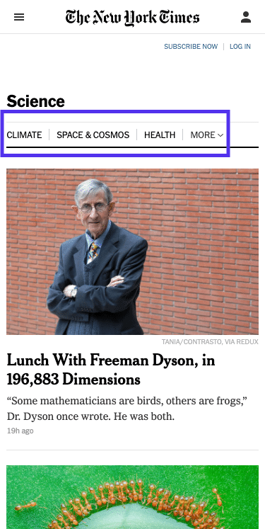 Page scientifique du NYT - menu principal (mobile)