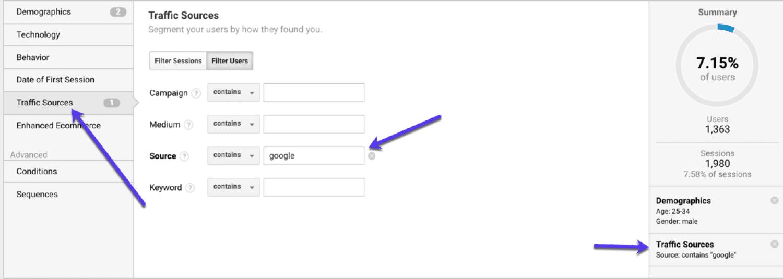 Segmentation par source de trafic dans Google Analytics
