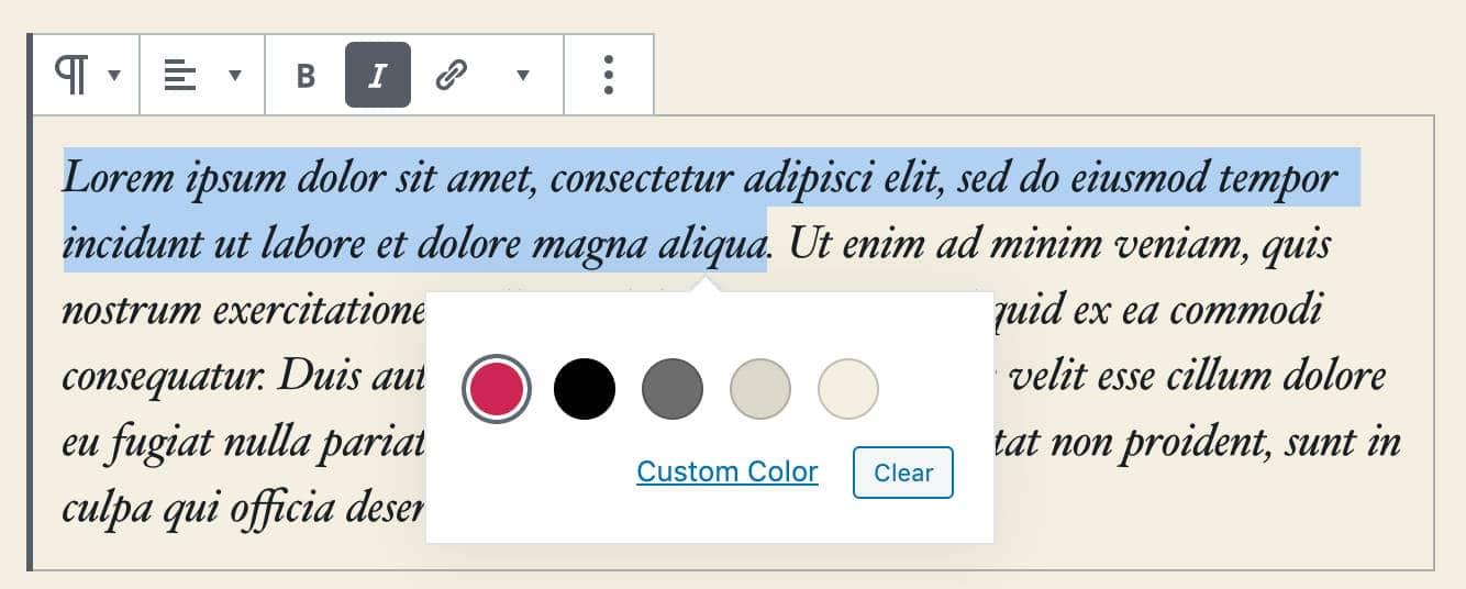 Sélecteur de couleurs de texte enrichi