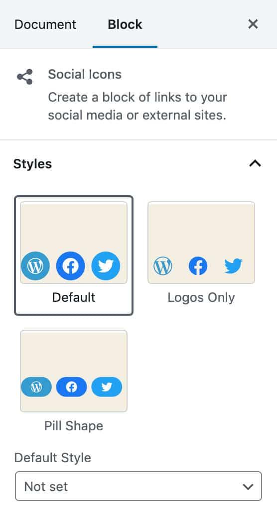 Styles des icônes sociales