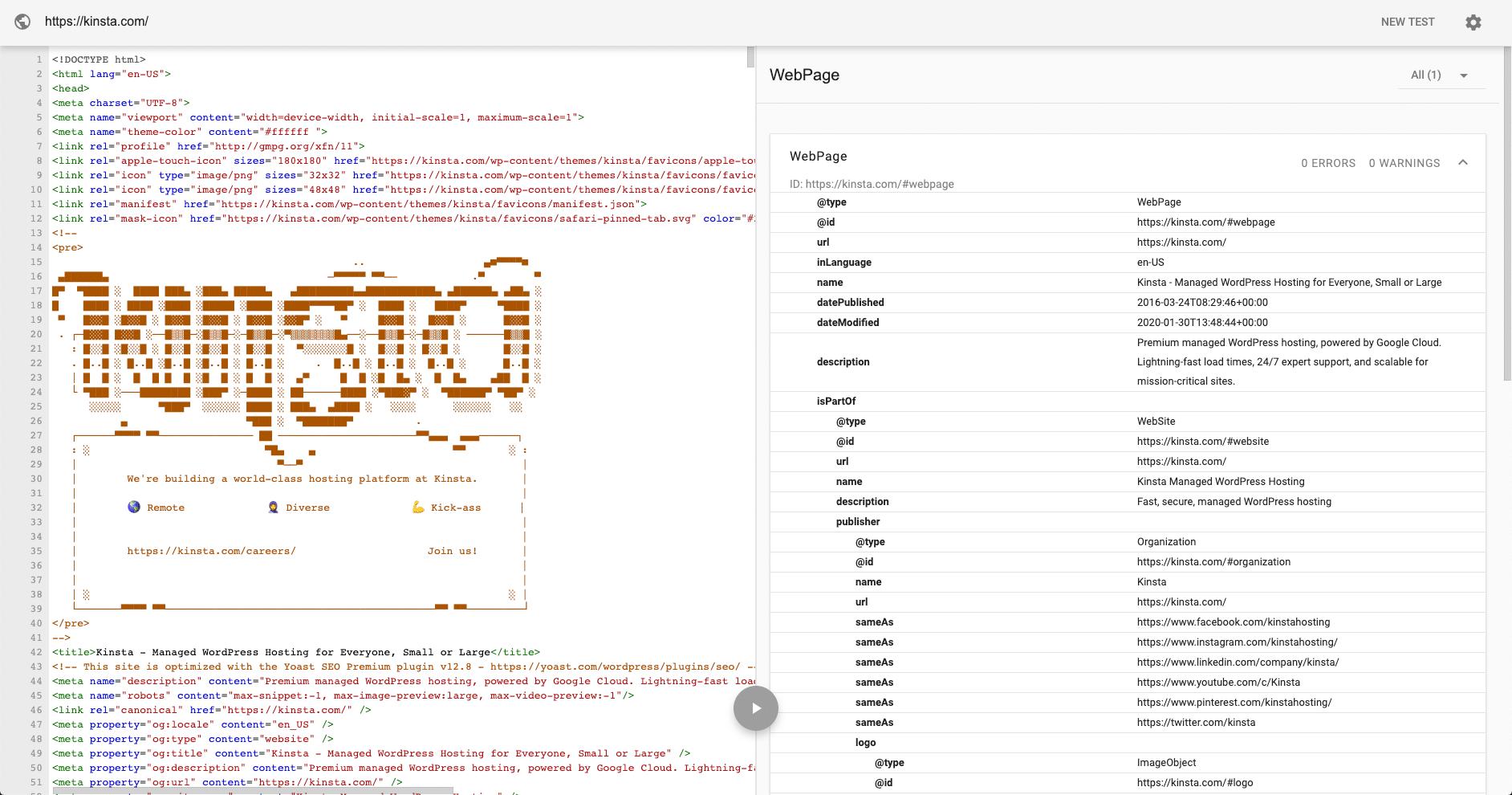 Test des données structurées de Kinsta