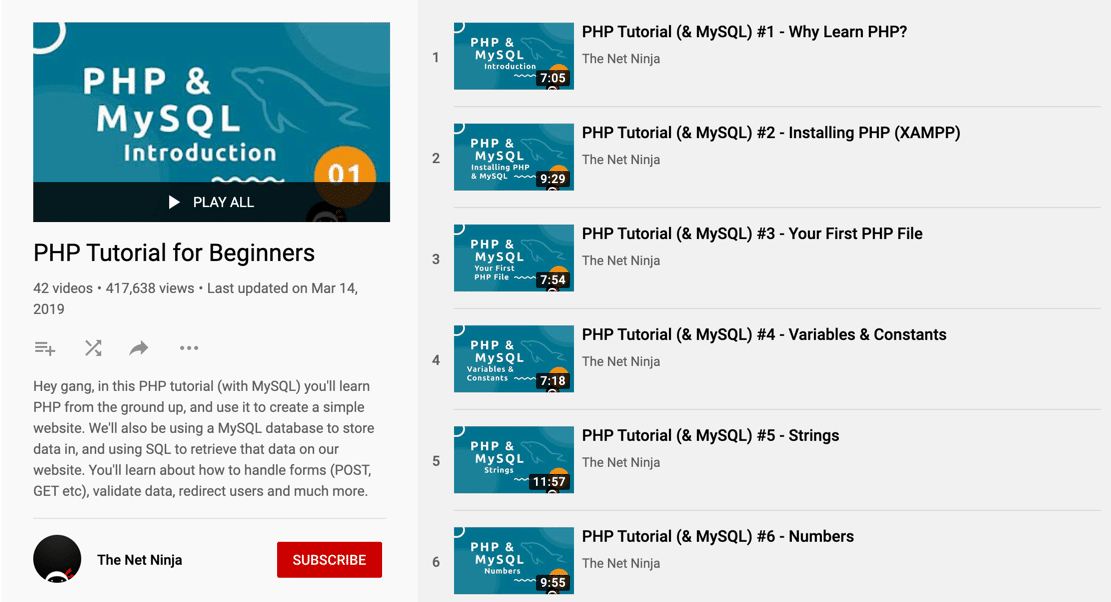 The Net Ninja's free PHP tutorial