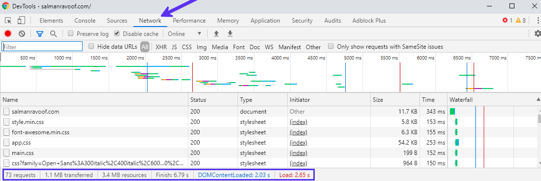 Utiliser l'onglet Réseau dans Google Chrome DevTools