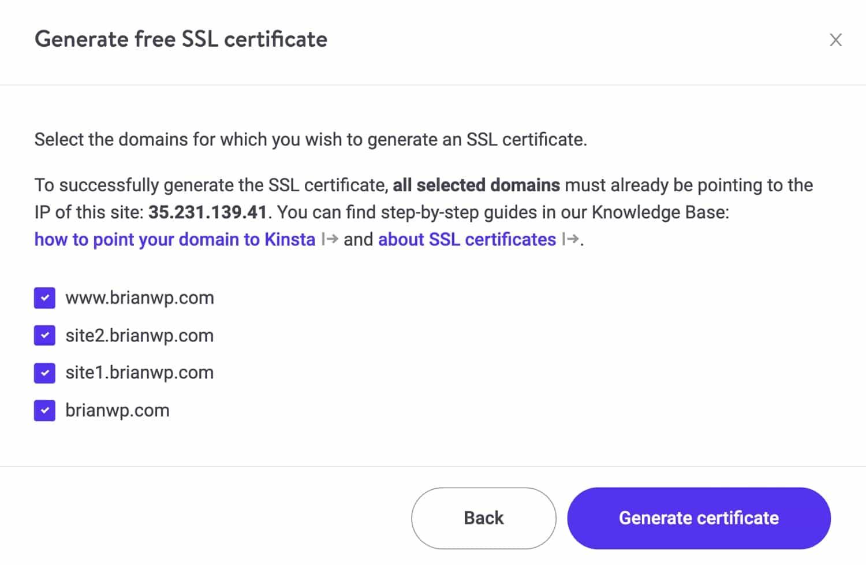 Générez un certificat SSL pour votre multi-site dans MyKinsta.
