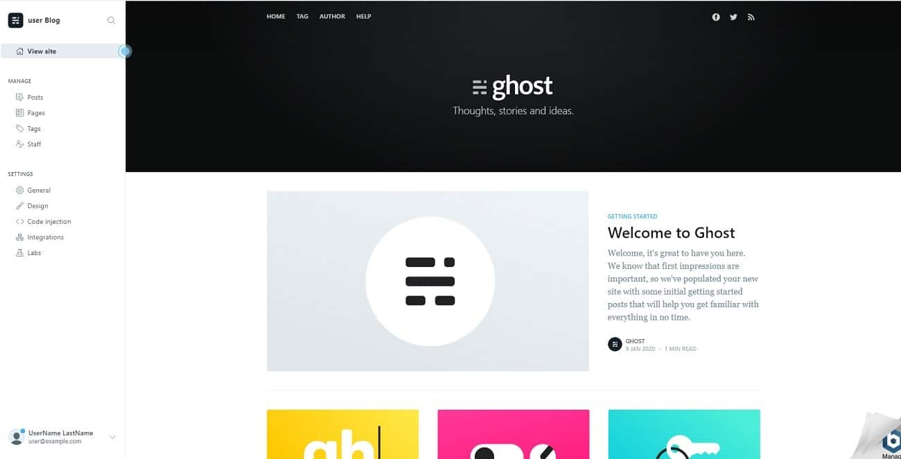 Interface de Ghost