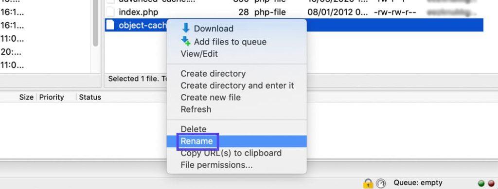 Renommez le fichier de cache des objets.