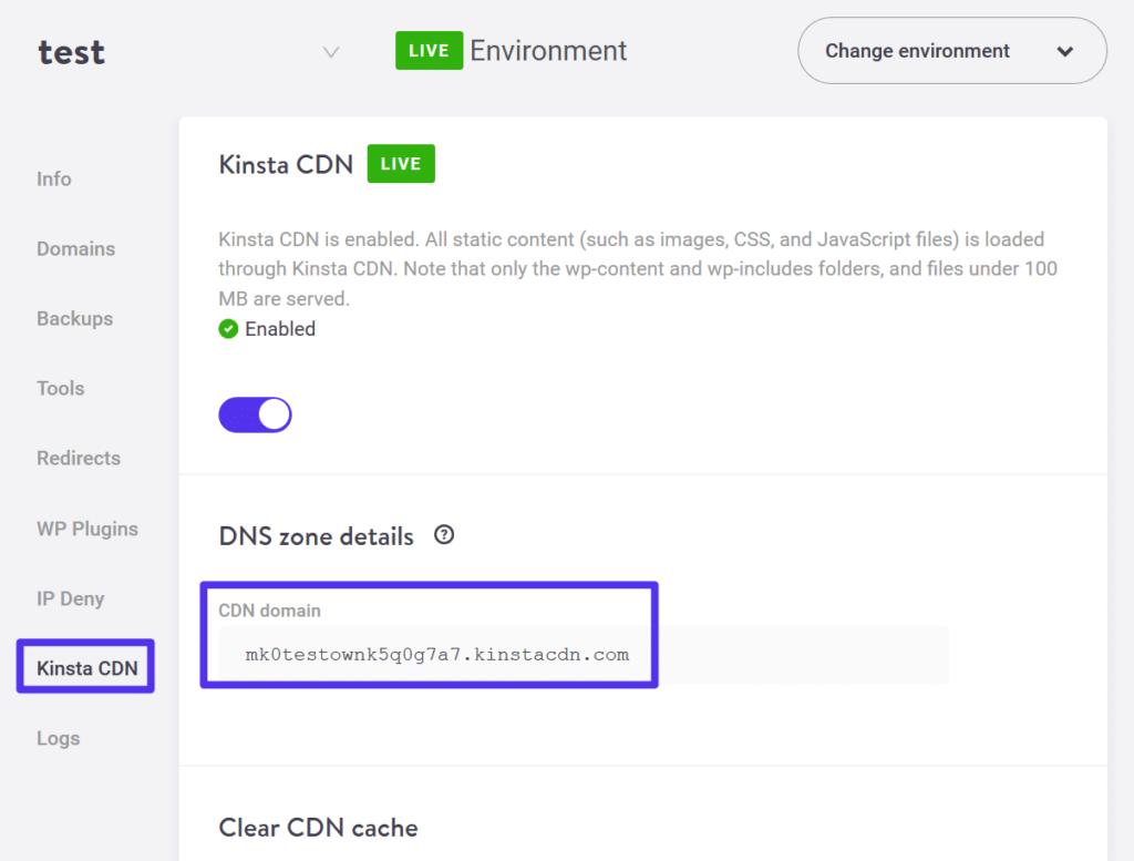 Comment trouver l'URL du CDN de Kinsta