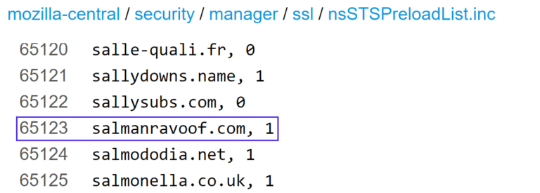 Un exemple de la liste de préchargement HSTS de Mozilla