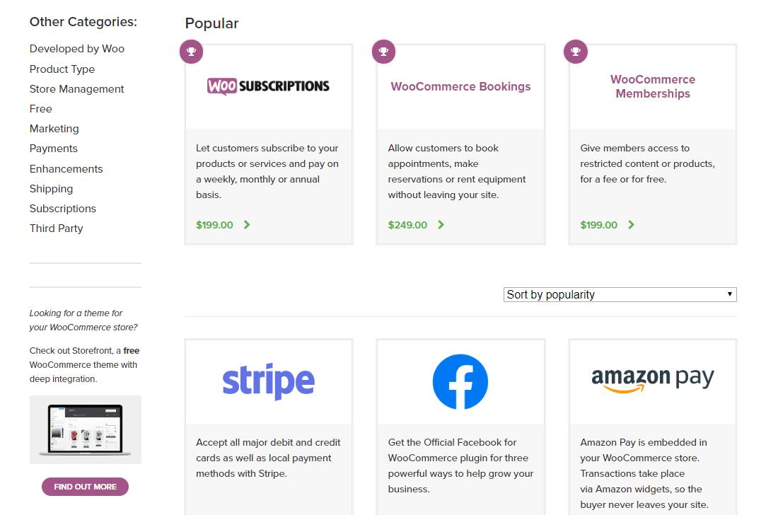 Des extensions étendent les fonctionnalités de WooCommerce