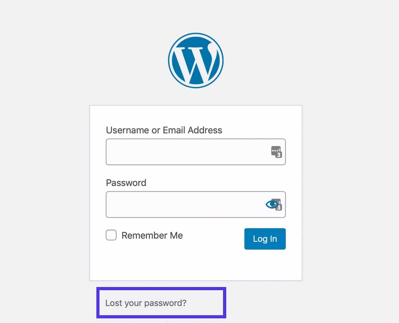 Lien WordPress de mot de passe oublié