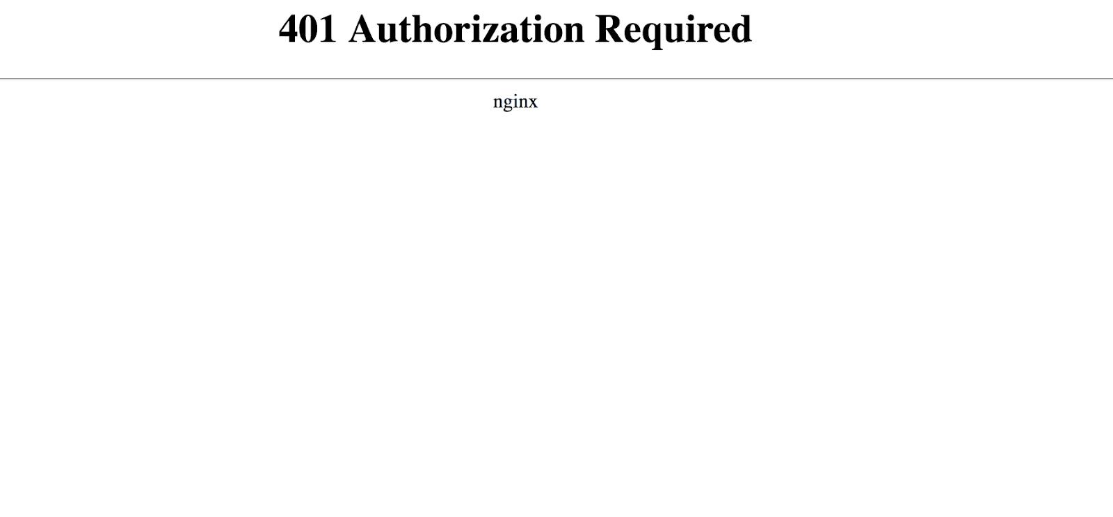 Message d'erreur 401 Nginx