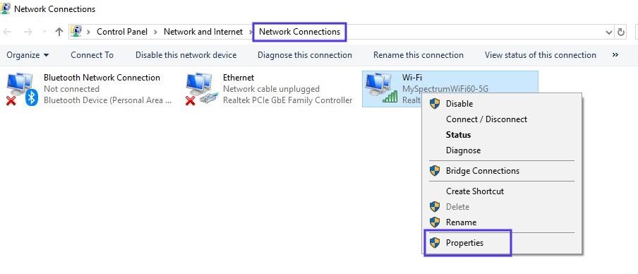 La page de configuration des connexions réseau dans Windows