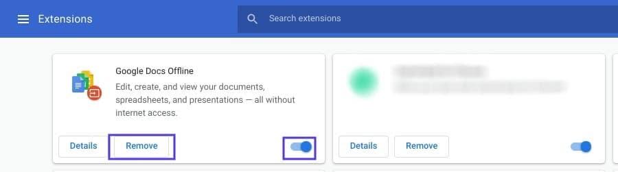 La page Extensions dans Google Chrome