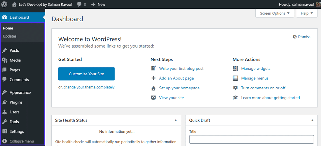 Le tableau de bord par défaut de l'administrateur de WordPress