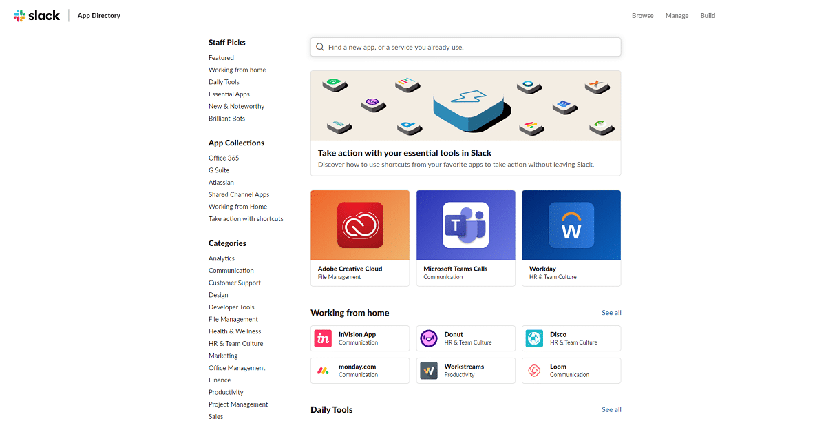 Les applications de Slack