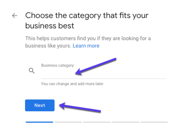 Choisir une catégorie d'entreprise sur GMB