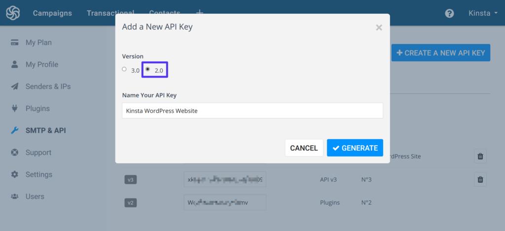 Créer une clé API 2.0 pour Sendinblue