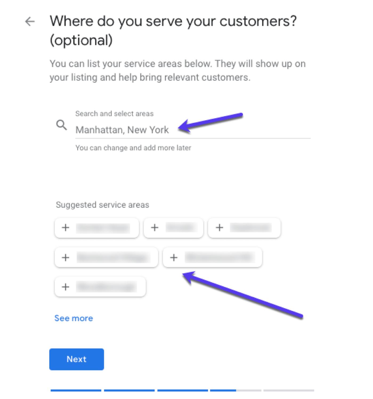 Choisir l'adresse d'une entreprise ayant une zone de service