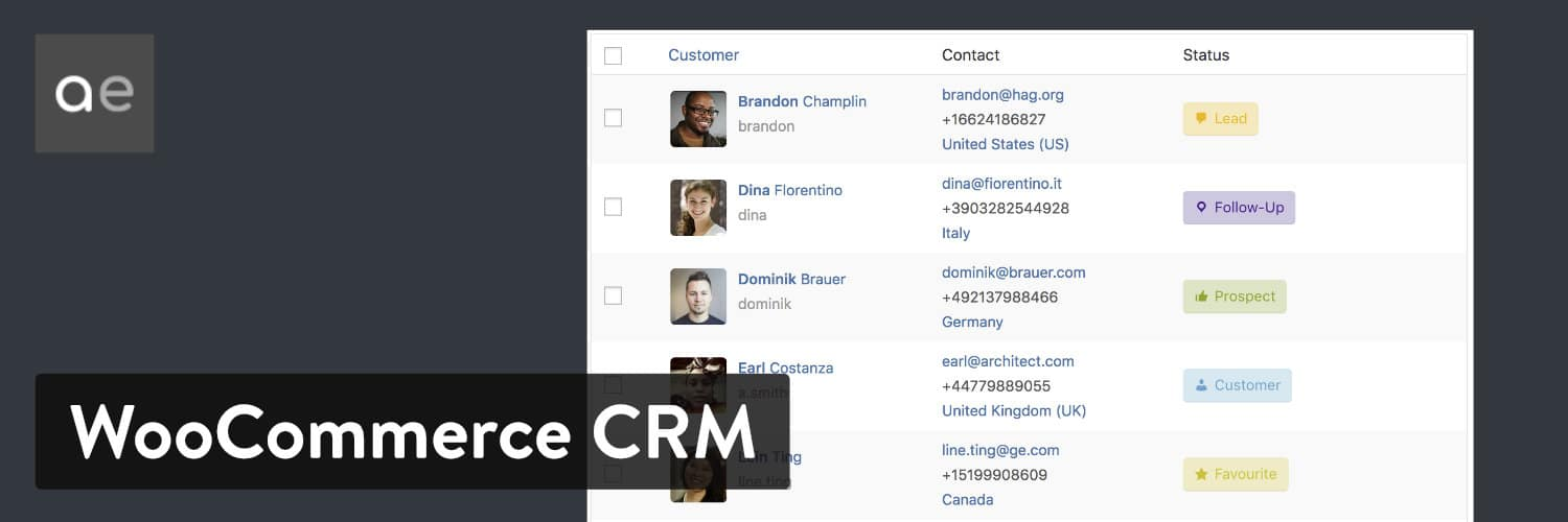 Extension WordPress WooCommerce Customer Relationship Manager