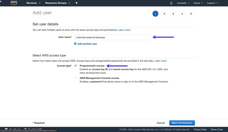 Indiquez un nom d'utilisateur et un type d'accès pour votre utilisateur IAM.