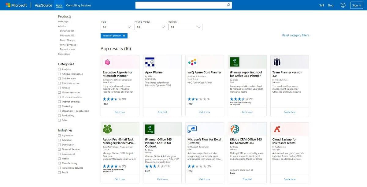 Intégrations Microsoft Planner