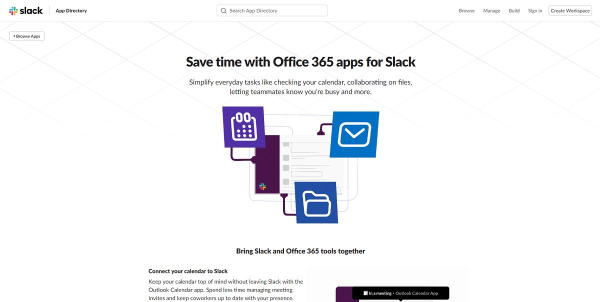 Intégrations Office 365 de Slack