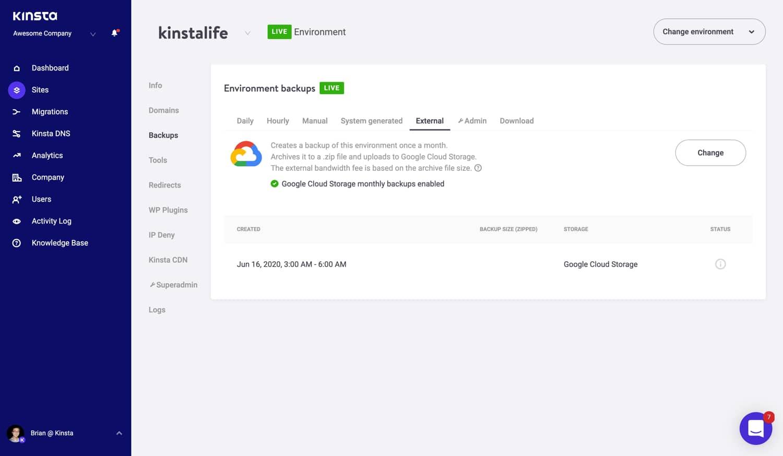 Option additionnelle de sauvegarde externe de Google Cloud Storage.
