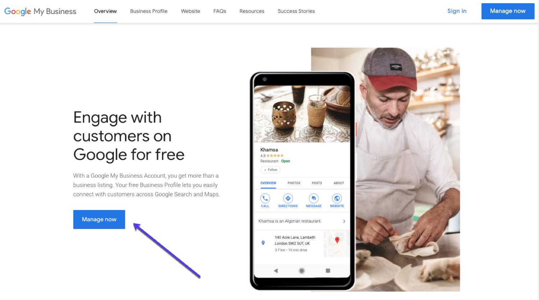 Page d'accueil de Google My Business, commencez ici pour créer votre compte