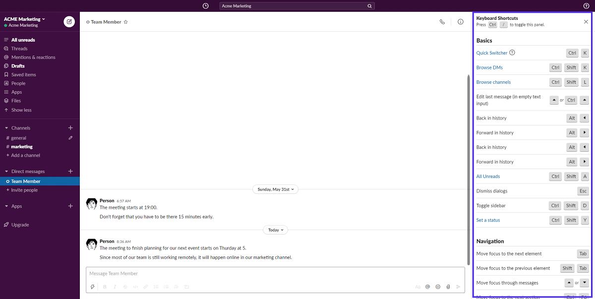 Raccourcis clavier dans Slack