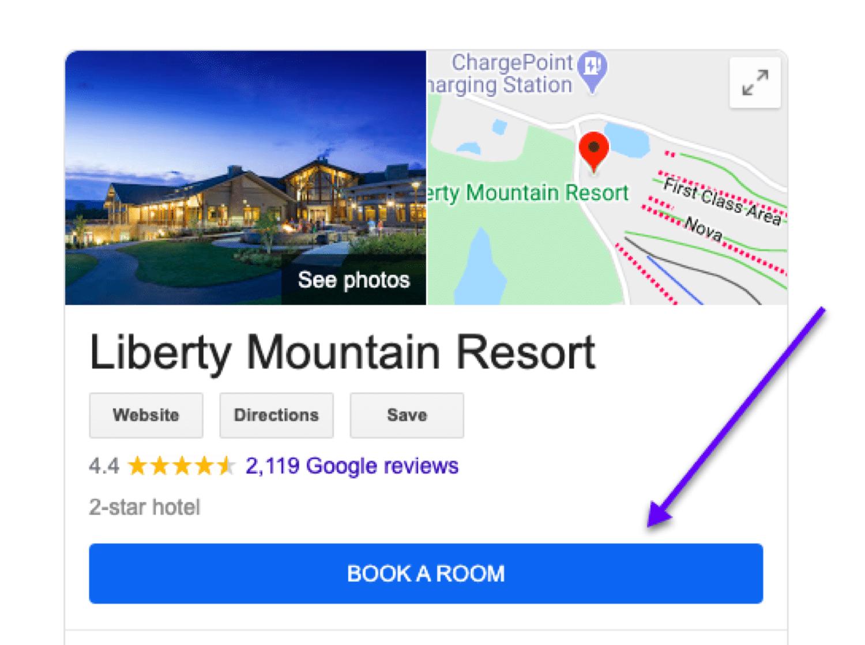 Vous dirigez un hôtel ? Ajouter un bouton pour réserver une chambre à partir de votre GMB