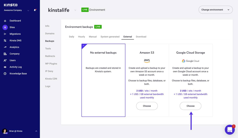 Sélectionnez l'option Google Cloud Storage pour les sauvegardes externes.
