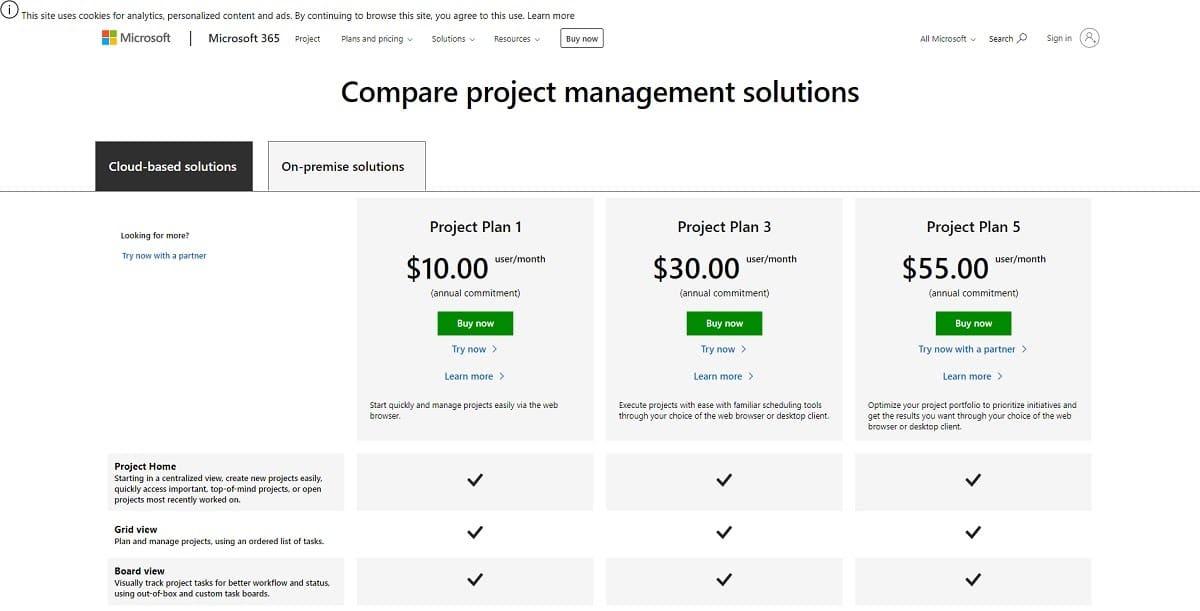 Tarifs de Microsoft Project