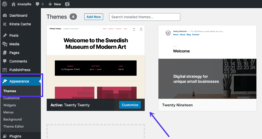 Le thème WordPress Twenty Twenty.