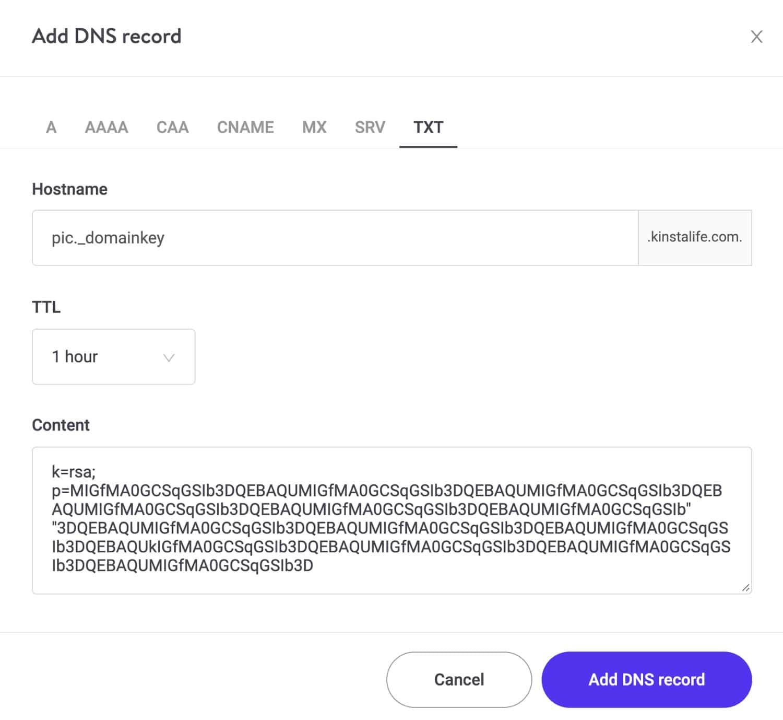 Ajout d'un enregistrement DKIM dans KinstaDNS.