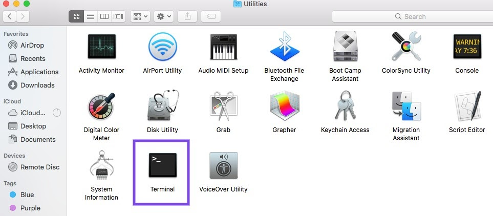 L'application Terminal sur macOS