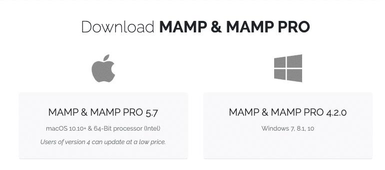 L'écran de téléchargement de MAMP