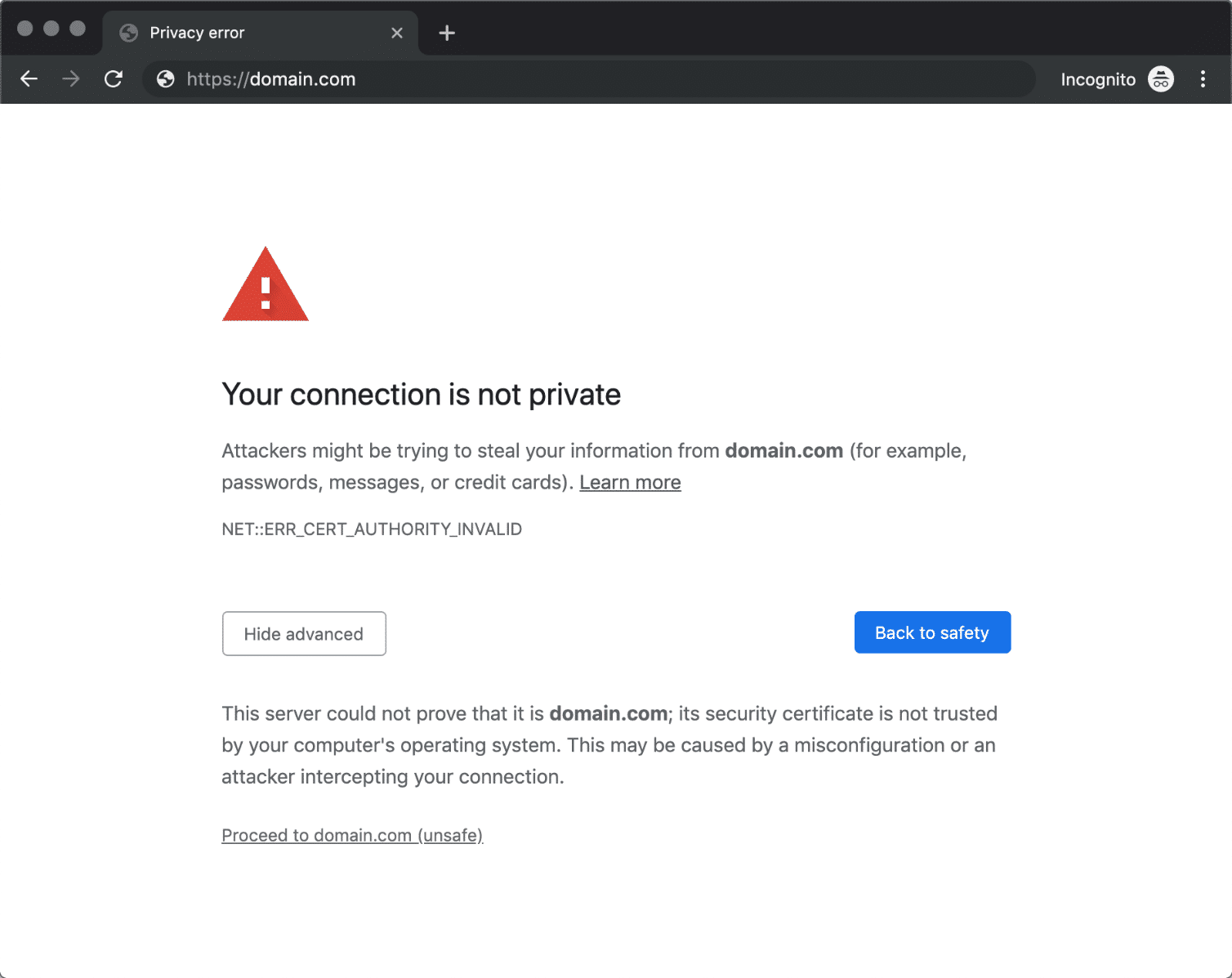 L'erreur NET::ERR_CERT_AUTHORITY_INVALID dans Chrome