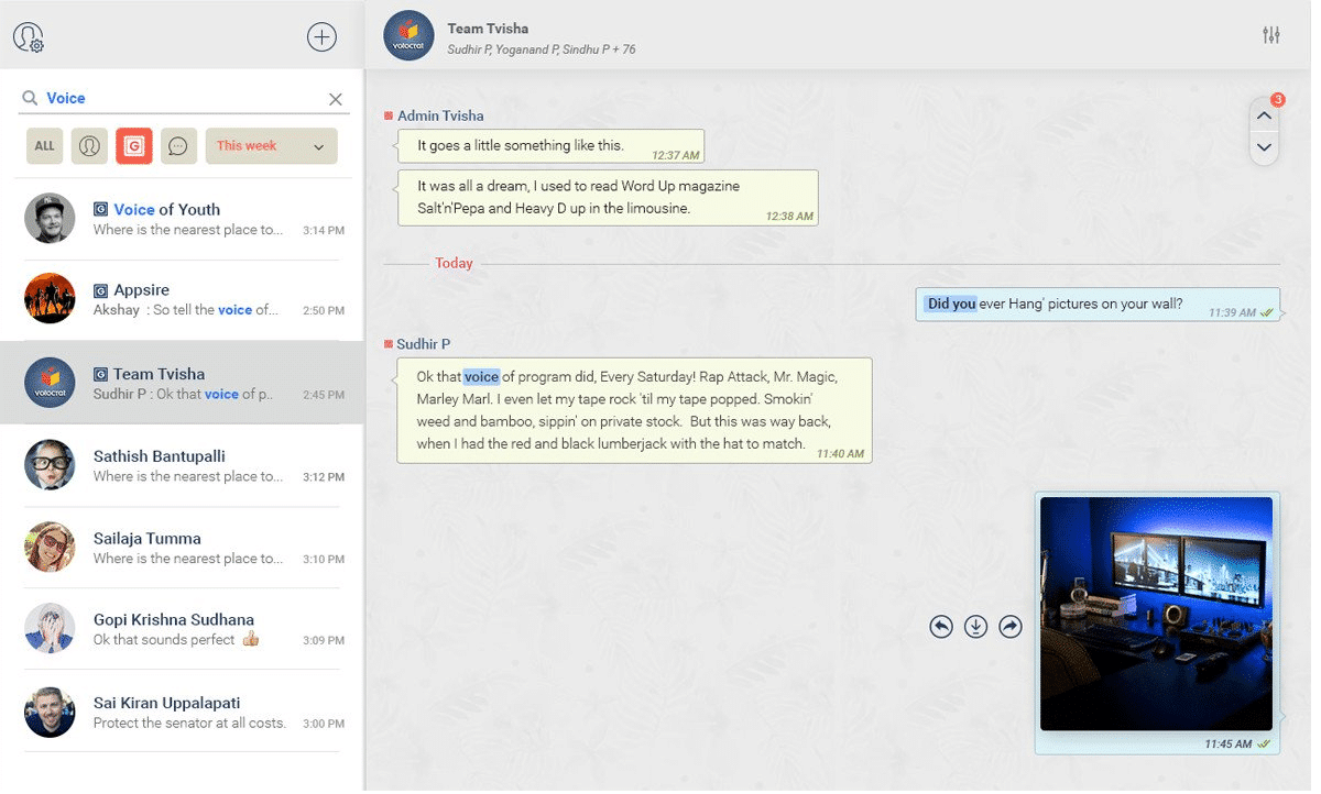 Interface de Troop Messenger