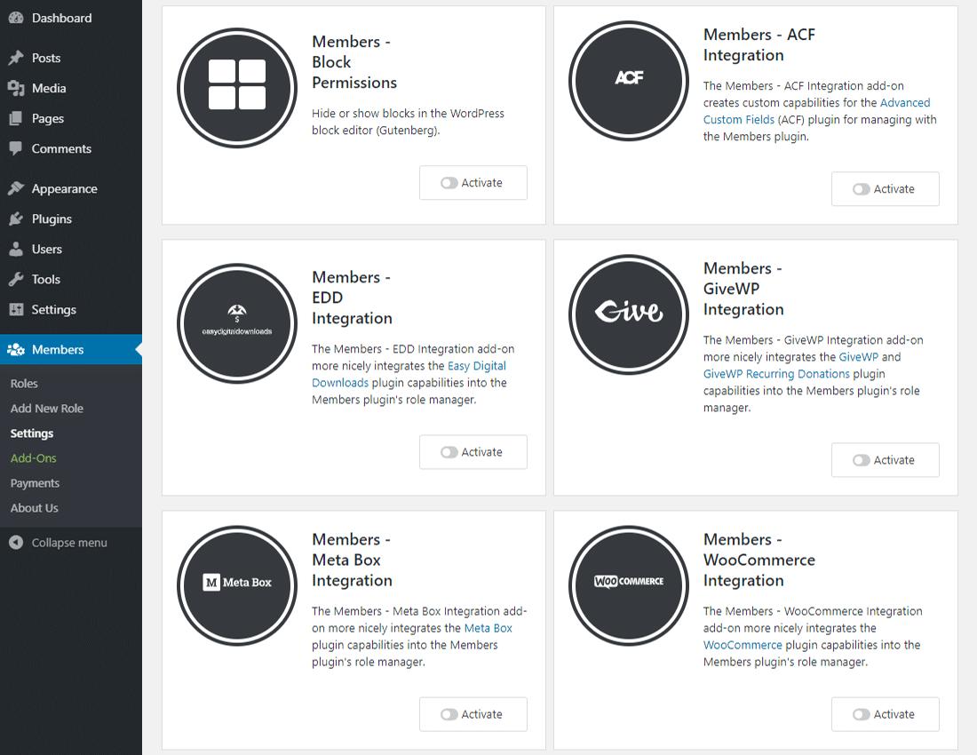 Members s'intègrent aux extensions WordPress