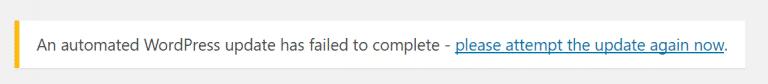 Message d'échec de mise à jour de WordPress