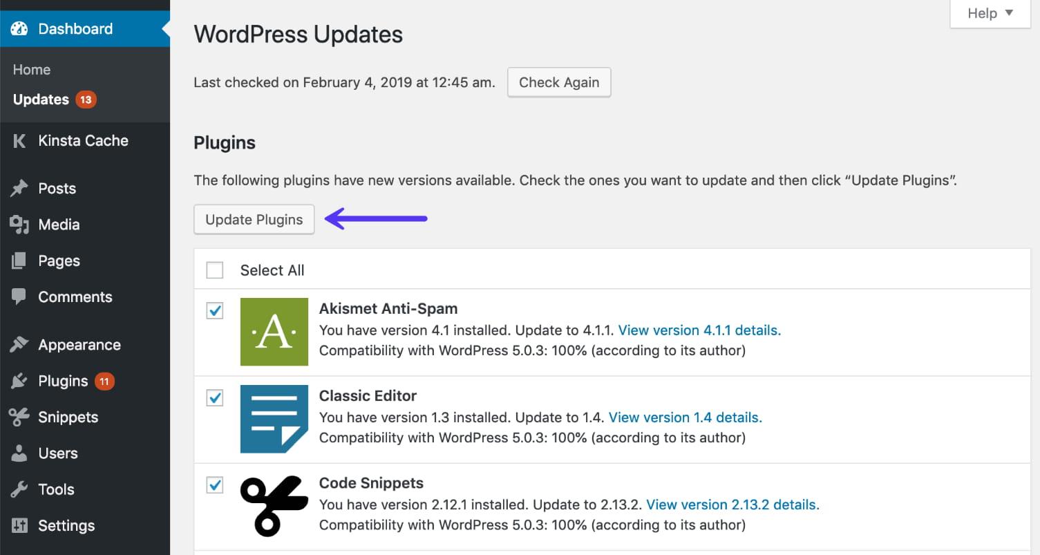 Mettre à jour les plugins WordPress