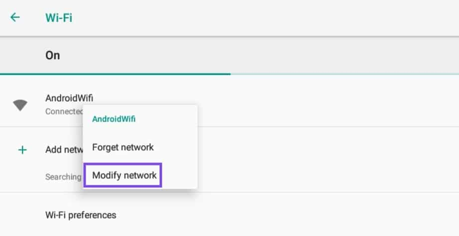 Modifier un réseau WiFi Android