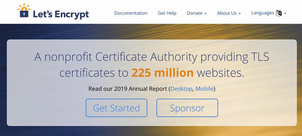 Page d'accueil de Let's Encrypt