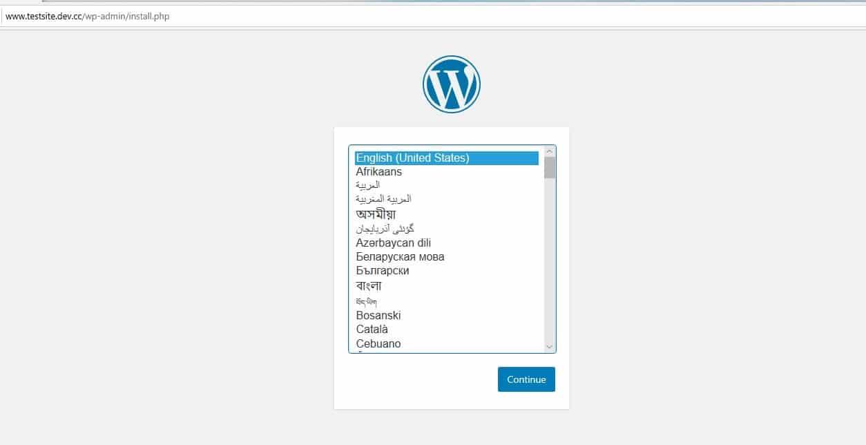 Page de configuration de nouvelle installation de WordPress