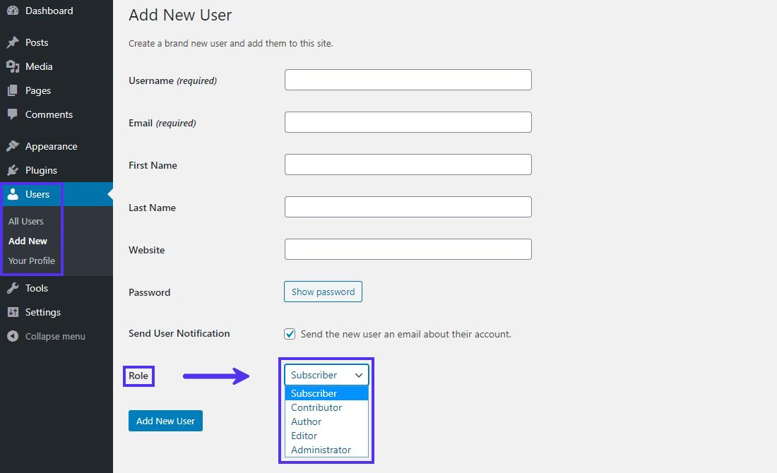Le panneau «Ajouter un nouvel utilisateur» dans le tableau de bord de WordPress