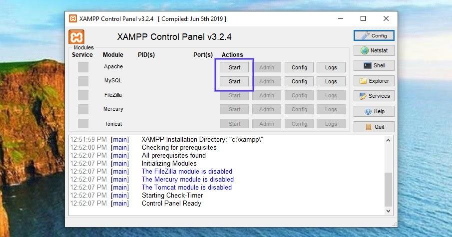 Le panneau de contrôle XAMPP